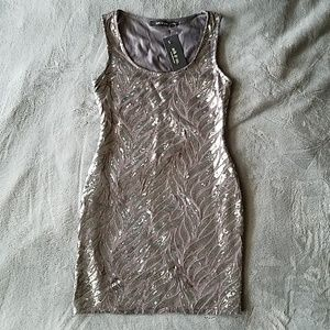 Ark and Co Gray Sequin Mini Tank Dress